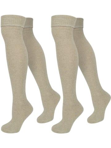 Normani 2 Paar Overknees mit Wolle und Zopfmuster normani 2 Paar Overknees mit Wolle und Zopfmuster in Beige
