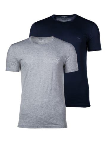 Emporio Armani T-Shirt 2er Pack in Blau/Grau