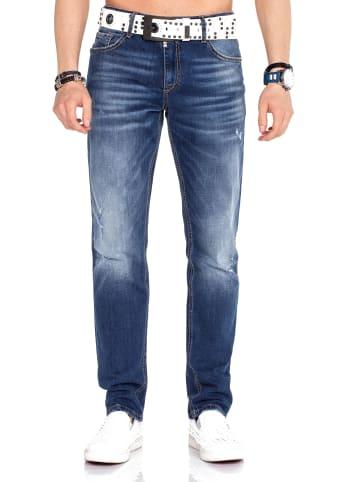 Cipo & Baxx Jeanshose mit Gürtel in White