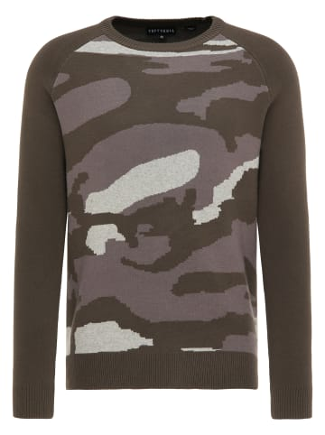 TUFFSKULL Strickpullover in Oliv Camouflage
