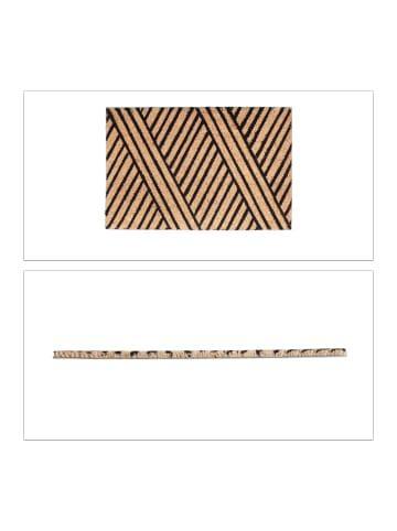 Relaxdays Fußmatte Streifen in Natur-Schwarz - (B)60 x(T)40 cm