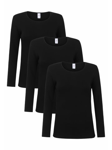 Schöller Langarmshirt 3er Pack in schwarz