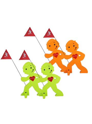 StreetBuddy StreetBuddy Warnfigur für Kindersicherheit in Grün und Orange, 4-er Pack
