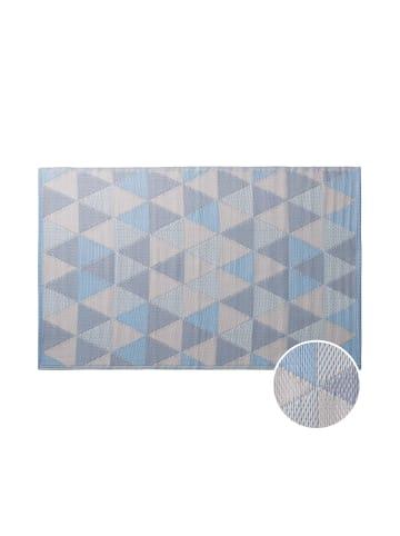 Butlers In- & Outdoorteppich Dreiecke L 180 x B 120cm COLOUR CLASH in hellblau