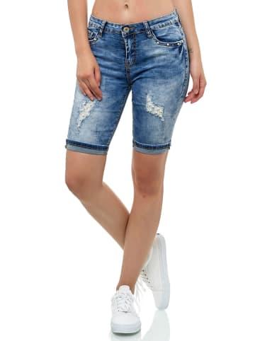 MISS FANNY Capri Jeans Short mit Perlen Pailletten Design in Blau