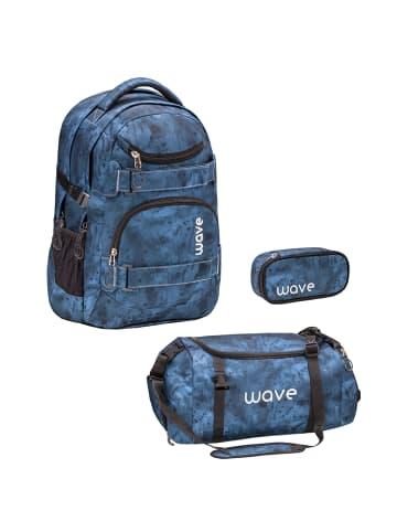 "Wave Rucksack ""Infinity Gloomy Set2"" in blau, H 43 cm B 31 cm T 22 cm"