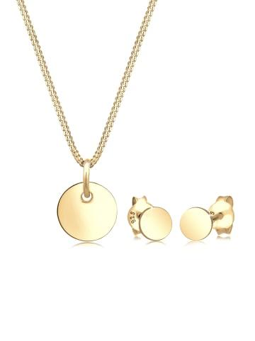 Elli Schmuckset 925 Sterling Silber Geo, Kreis in Gold