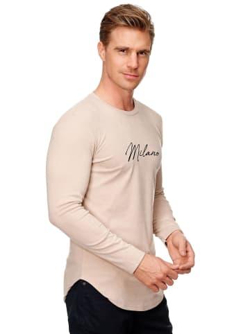Uniplay Longsleeve dünner Pullover Shirt Stretch Rundhals Crew Neck in Beige