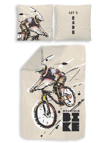 """TRAUMHELDEN Bettwäsche-Set """"MTB Mountainbike Fahrrad"""" in Beige"""