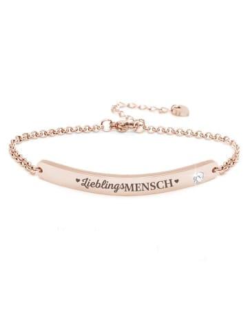 """Silvity Gravur-Armband """"LieblingsMensch"""" mit einem Kristall Stein in Roségold"""