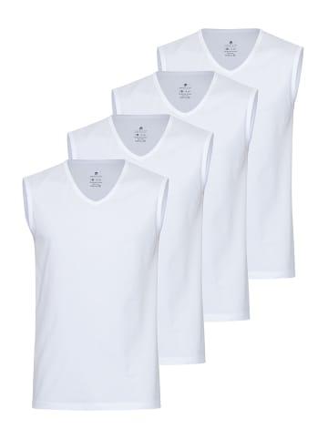 Burnell & Son Unterhemd ärmellos - V-Ausschnitt 4er Pack in Weiß