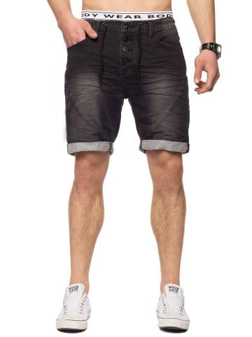 Sublevel Bermuda Sweat Jeans Shorts Stretch Pants in Schwarz-Dunkelgrau