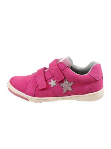 Pio Lederschuh Mädchen Klett-Halbschuh Glittersterne in pink