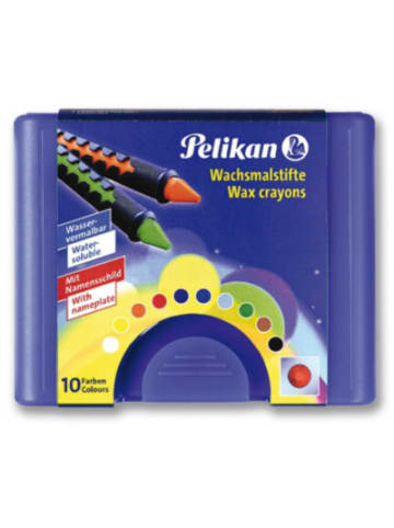 Pelikan Wachsmalstifte, wasservermalbar, 10 Farben in Kunststoffbox