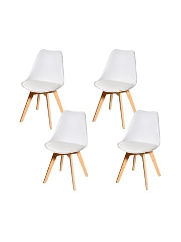 MCW 4x Retro Esszimmerstuhl E53, Weiß/weiß, Kunstleder, helle Beine