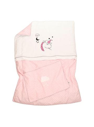 """BABY LAL® Kinderbettwäsche """"EINHORN"""" in Pink - (L) 135 x (B) 100cm"""