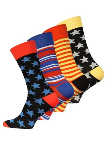 "Vincent Creation® Trend-Socken 4 Paar ""Stars and Stripes"" in Bunt"