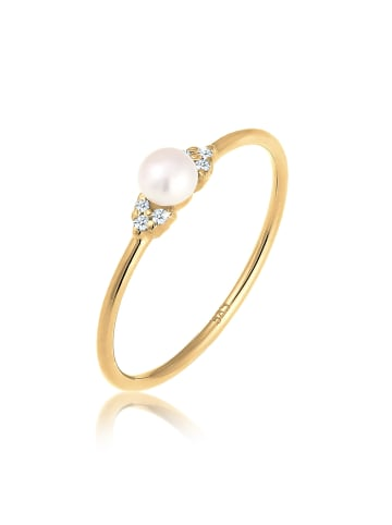 DIAMORE Ring 585 Gelbgold Perle, Verlobungsring in Gold