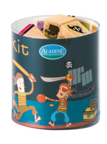 Aladine STAMPO'KIDS Mini-Stempelset Piraten, 16-tlg.