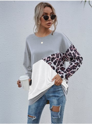 Enflame Leo Muster Long Shirt Legerer Oversized Sweater Pullover in Grau