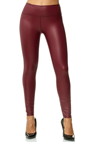 EGOMAXX Leggings Leder Optik High Waist Stretch Hose Wet Look in Rot