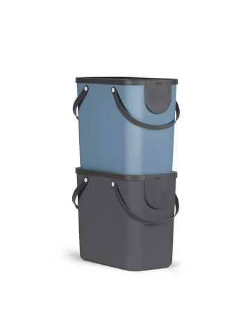 Rotho Albula 2er-Set Mülltrennungssystem 25l in anthrazit/blau