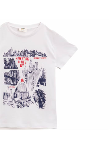 Mamino Kindermode Jungen T-Shirt -NY cities in weiss