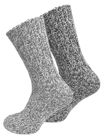 Cotton Prime® Norweger Strick-Socken 2 Paar, Unisex in grau