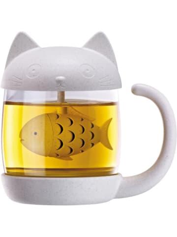 """Winkee Teeglas """"Katze"""" mit integriertem Tee-Ei"""