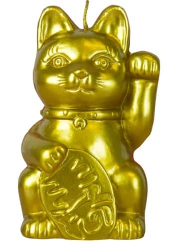 """MAGS Deko-Kerze """"Glückskatze"""", mit Keramikfigur in der Kerze, H17 cm"""