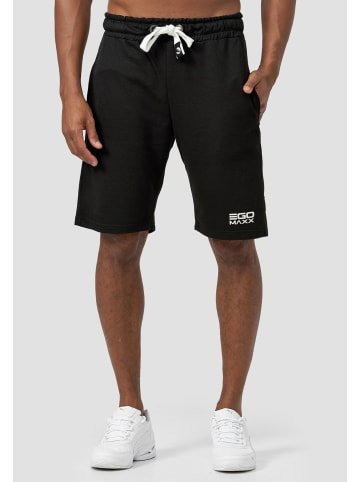 EGOMAXX Sweat Shorts Kurze Baggy Sport Hose mit Tunnelzug Logo in Schwarz