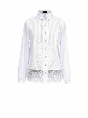 Wisell Hemdbluse mit Knöpfen und Spitze in weiß