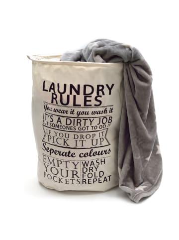 """Pink Papaya Wäschesack """" Laundry Rules """" in schwarz/weiß"""