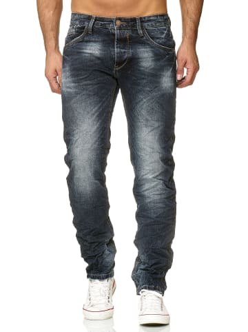 WANGUE Jeans Hose Knitterlook H2619 in Blau