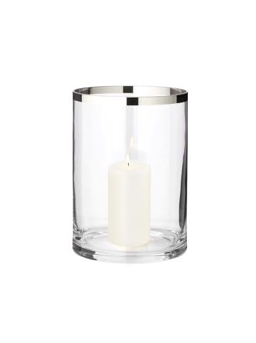 Edzard Windlicht Molly in Transparent, Platinveredelt Höhe 25 cm,Ø 18 cm