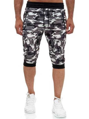 Max Men Jogging Shorts Bermuda TarnSweat Pants Zip Taschen Sporthose in Weiß