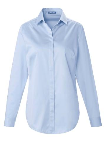 DAY.LIKE Langarmbluse Bluse mit kleinem Hemdkragen in himmelblau