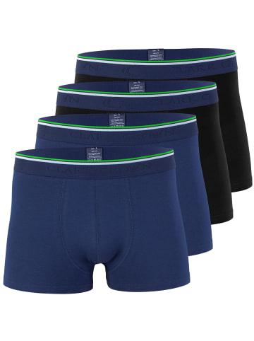 Clark Crown® 4er Pack Bambus Boxershorts in marine/schwarz