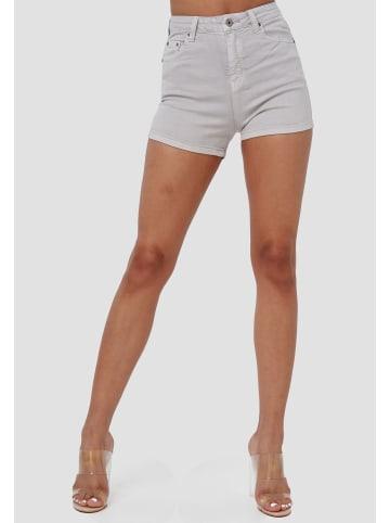 Miss Anna Jeans Shorts Kurze Skinny Stretch Hosen Capri Hot Pants in Grau