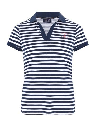 Navigator Poloshirt in White/Dark Blue