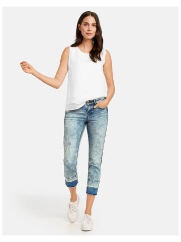TAIFUN Hose Jeans verkürzt in Blau