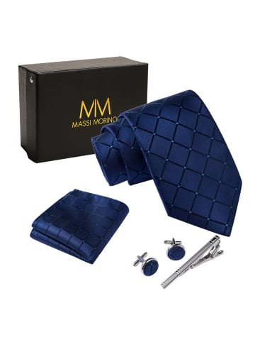 Massi Morino  Krawatte Krawattenbox Set in blau quadrat