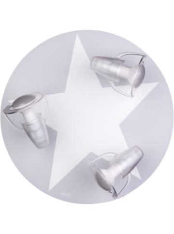 Waldi-Leuchten Deckenleuchte grau mit Stern weiß, 3-flg.