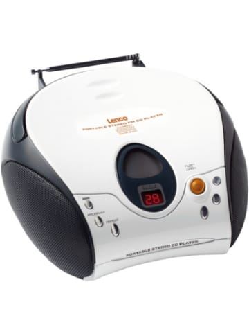 Lenco SCD-24 weiss - Boombox CD-Player mit Radio und Kopfhöreranschluss