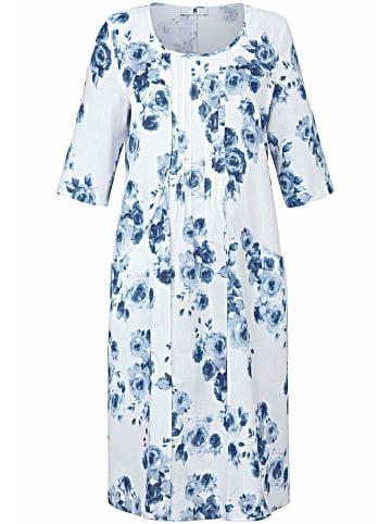 ANNA AURA Abendkleid Kleid mit 3/4-Arm aus 100% Leinen in weiß/blau