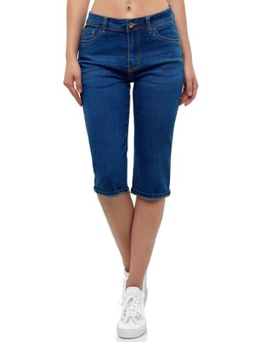 MISS FANNY Kurze Capri Jeans Shorts leichte Bermuda Sommer in Blau-2