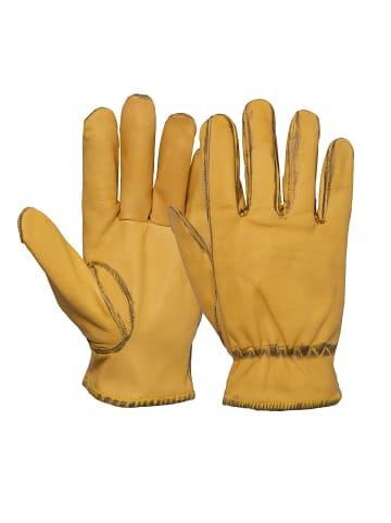 King Kerosin Biker Handschuhe mit Vintage Look in gelb