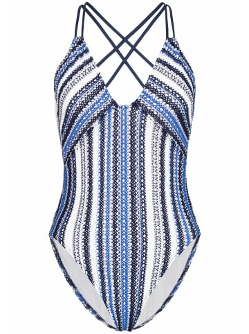POLO RALPH LAUREN Badeanzug One Piece Desert Crochet Stripe Plunge X-Back High-Leg in Blau