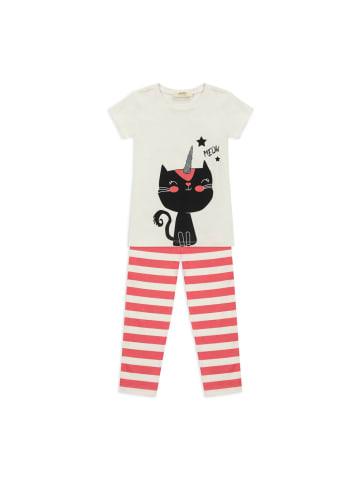 Panco Pyjama - mit Cat- Print - für Mädchen in Weiß