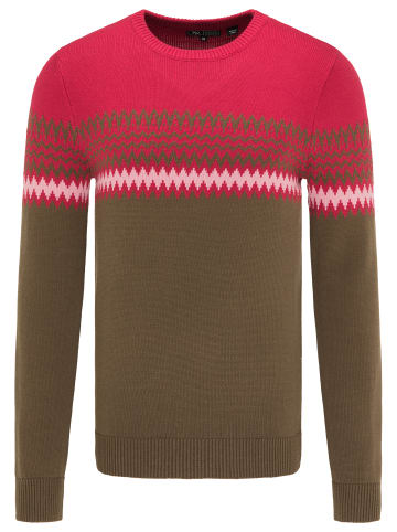 MO Strickpullover in Oliv Rot Rosa
